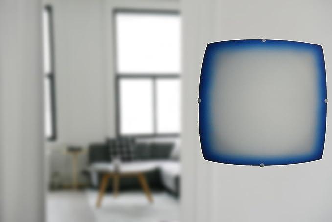 Plafoniere Vetro Blu : Plafoniera quadrato vetro decorazione bordo blu amazon