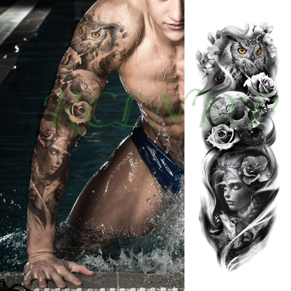 ljmljm 5 Piezas Impermeable Tatuaje Pegatina león Rey Corona Rosa ...