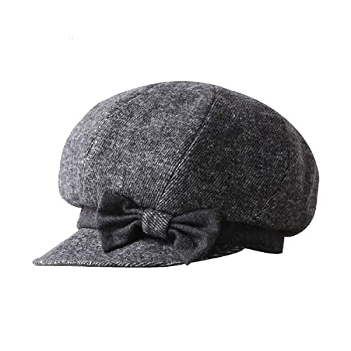 Sombrero Vintage Otoño E Invierno Damas Retro Decoración De Lazo Boinas Octogonales Gorro De Mama Go...