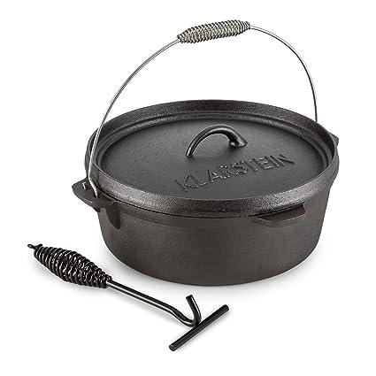 Klarstein Hotrod 60 Olla de Hierro Fundido 5,7 litros (6 qt / 5,7 L, Tapa hermética, Ideal Cocina sobre Fuego o brasas, óptima distribución Calor, ...