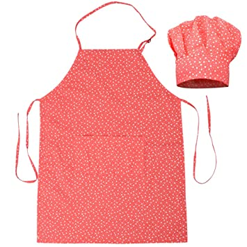 Kids Kitchen Apron Chef Hat Set Adjustable Cute Cotton Children Baking Cook Bib
