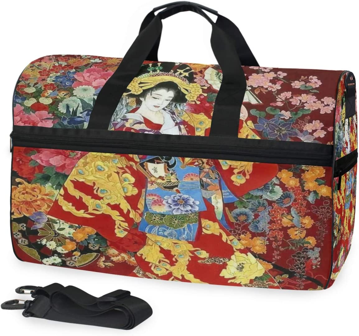 MUOOUM Japanese Geisha Girl Large Duffle Bags Sports Gym Bag with Shoes Compartment for Men and Women