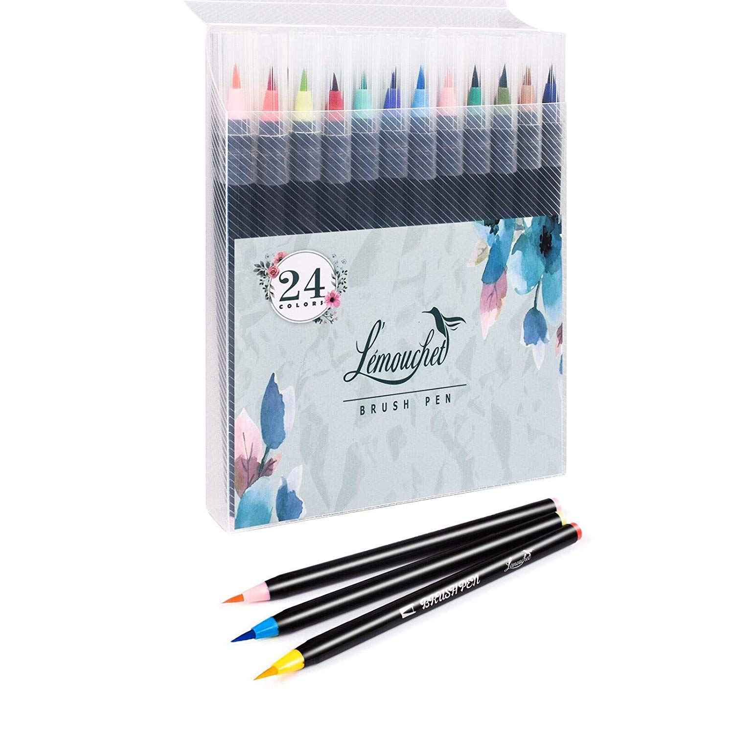 L'émouchet 24 Watercolor Brush Markers Pen Art Markers, Water Based Drawing Marker Brushes Colored Pens Set for Adult Coloring Books Manga Comic Calligraphy Journal Note Taking Drawing Planner Art