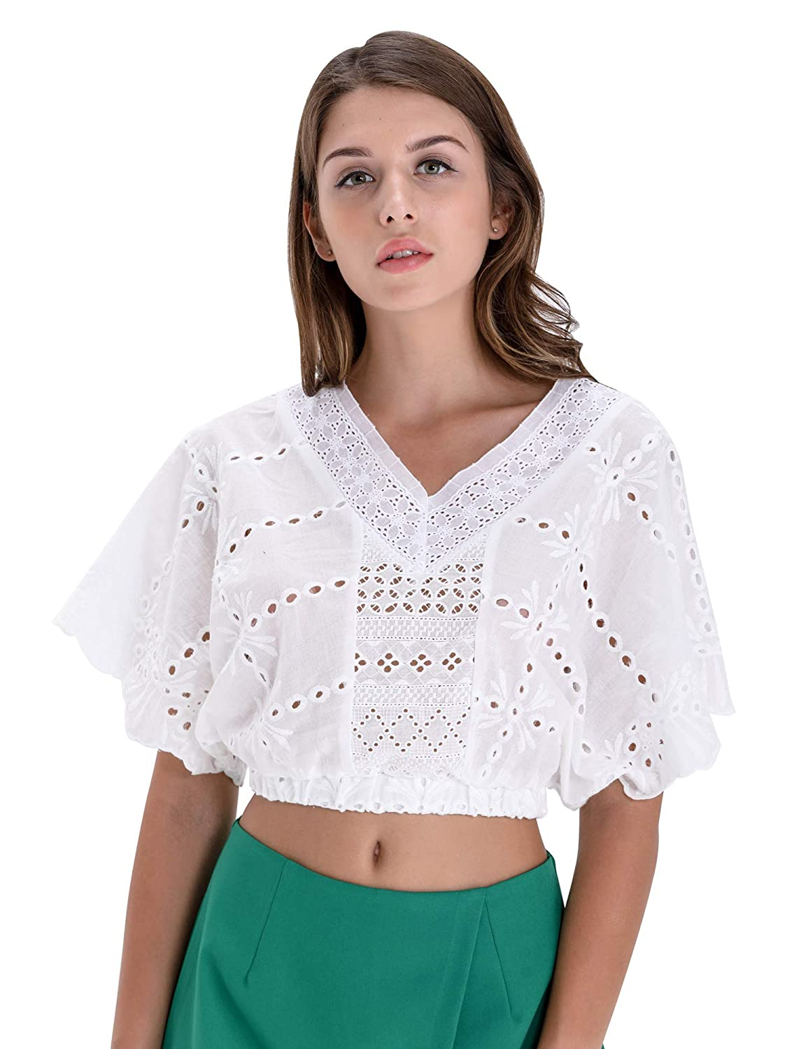 8c90ec5b4a BARGOOS Women All White V Neck Lace Crop Tops Eyelet Hollow Out Batwing  Sleeve Blouse at Amazon Women's Clothing store: