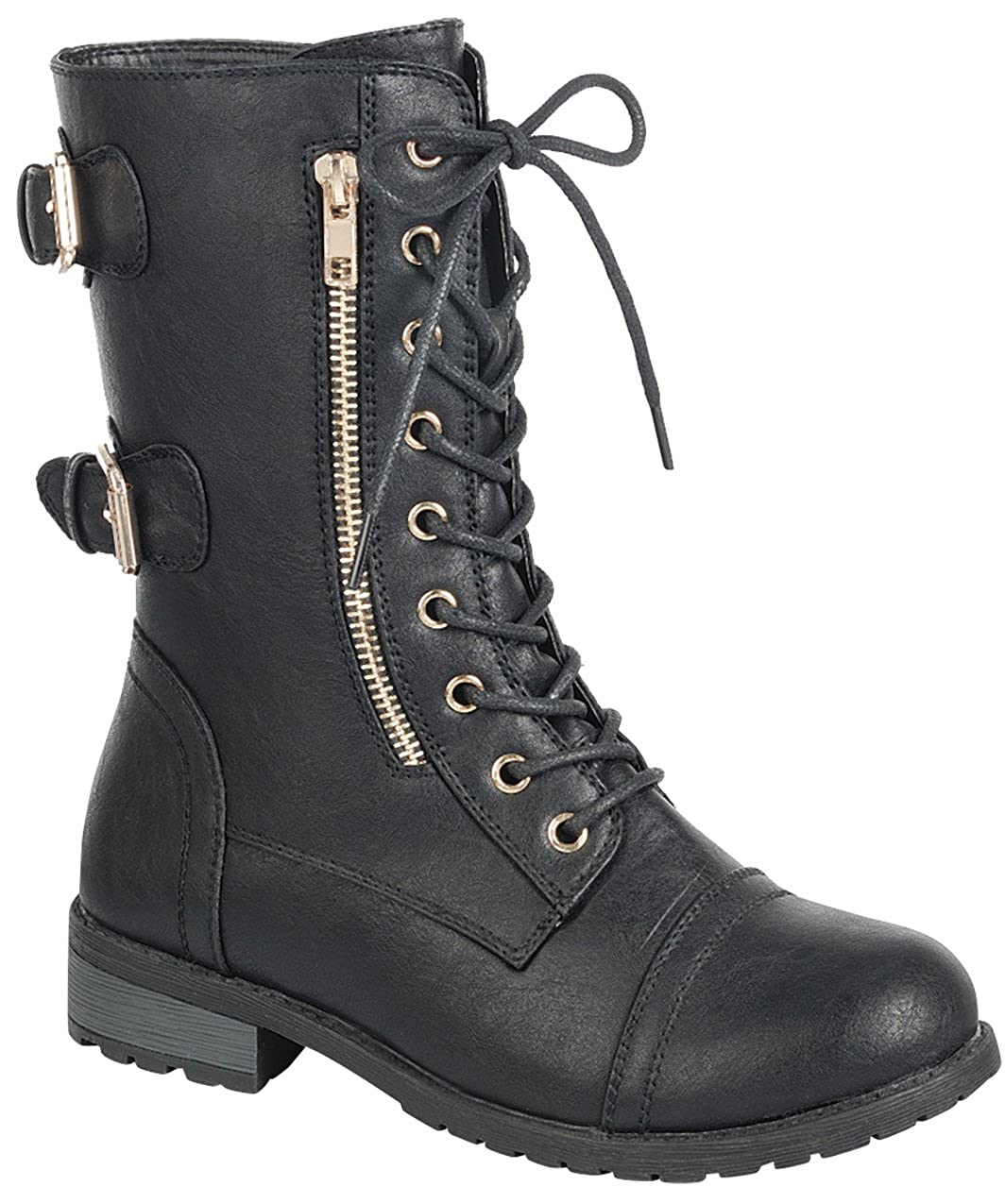 Forever Link Womens Lace-Up Buckle Moto Chunky Stacked Heel Mid-Calf Boot