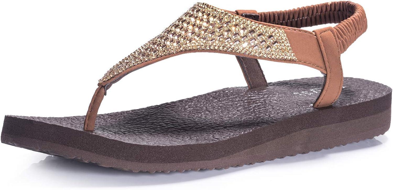 FITORY Womens Flip Flops Yoga Sling Rhinestones Flat Sandals Comfort Shoes