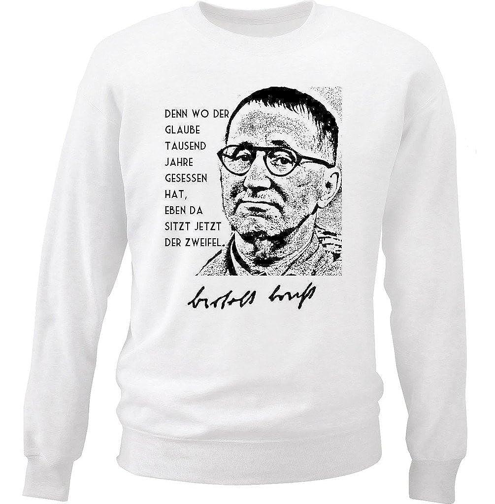 Teesquare1st Mens Bertolt Brecht Zitate White Sweatshirt
