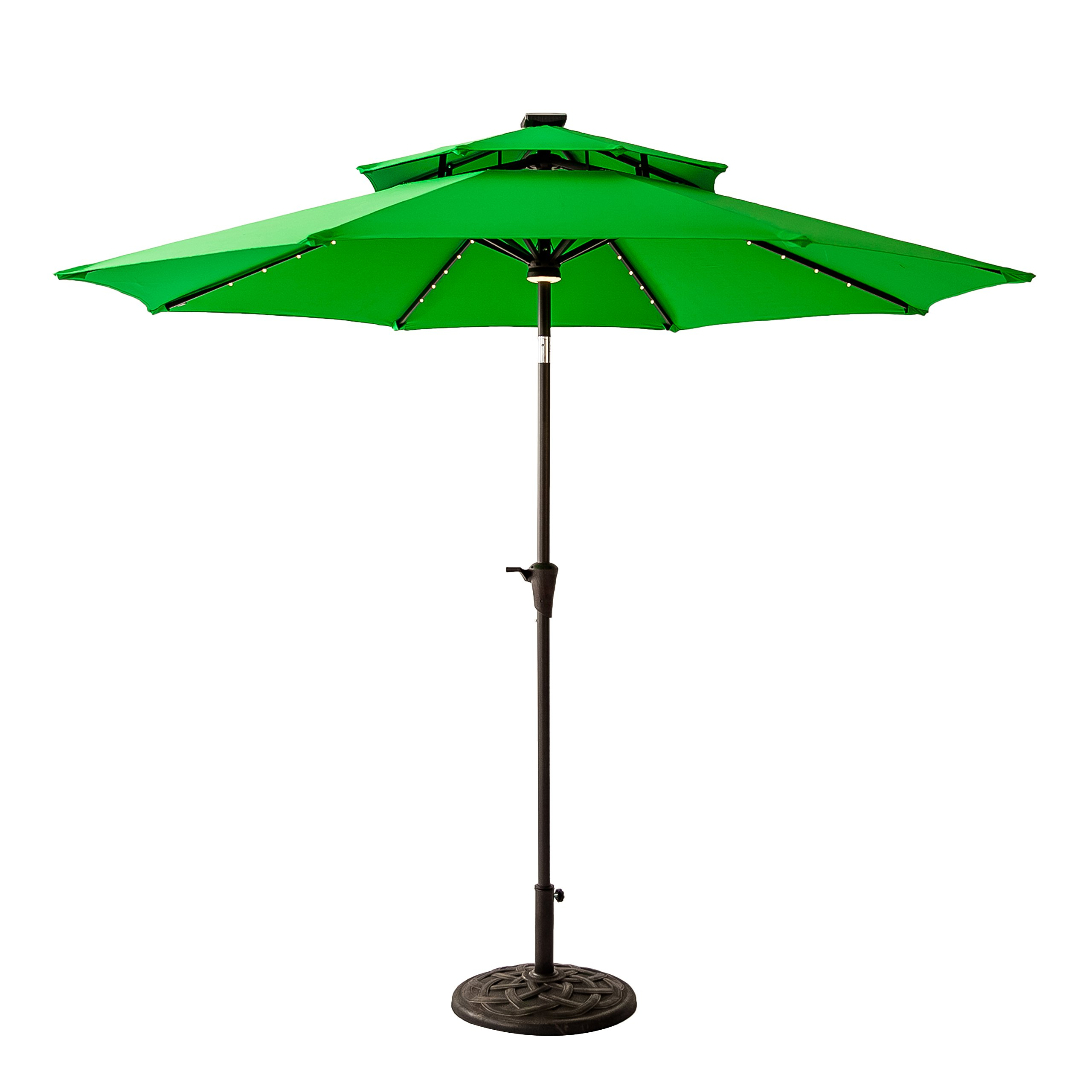 FLAME&SHADE 9 foot Solar Power LED Lights Double Top Outdoor Patio Market Umbrella with Crank Lift, Push Button Tilt, Apple Green