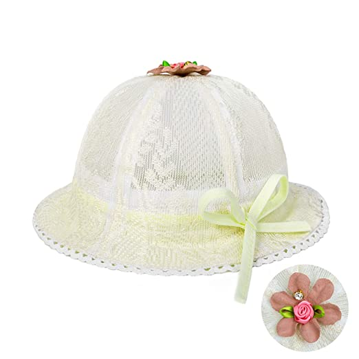 8b871836dfe Image Unavailable. Image not available for. Color  Baby Girl Cap Toddler  Summer Cute Princess Baby Hat Bow Lace Hollow Kids Beach Bucket Hats