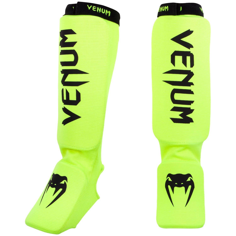 Venum Kontact Shinguards, Neo Yellow, One Size