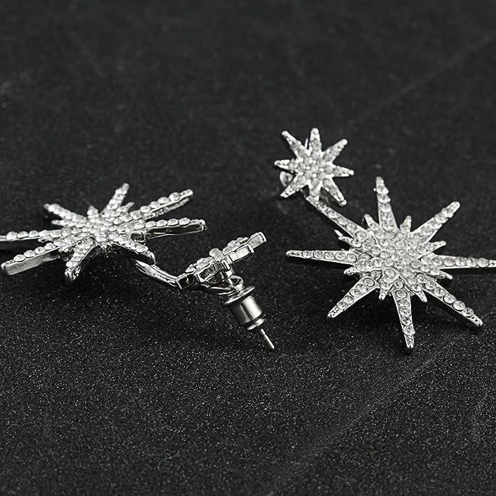 LUFA 1 pair Double Star Snowflake Earrings For Women Earring Women Femme Big Classic Jewelry