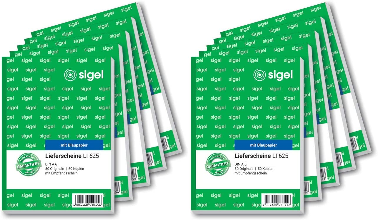 Sigel Li625 10 Lieferscheine Mit Empfangsschein A6 10 Stück á 2x50 Blatt Bürobedarf Schreibwaren