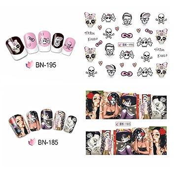 Amazon Halloween Women Nail Art Sticker Watermark Tattoos Nail