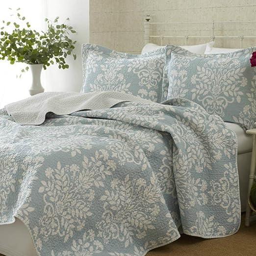 Queen Size 100/% Cotton Modern Damask Quilt Set Bluish Green Color Full