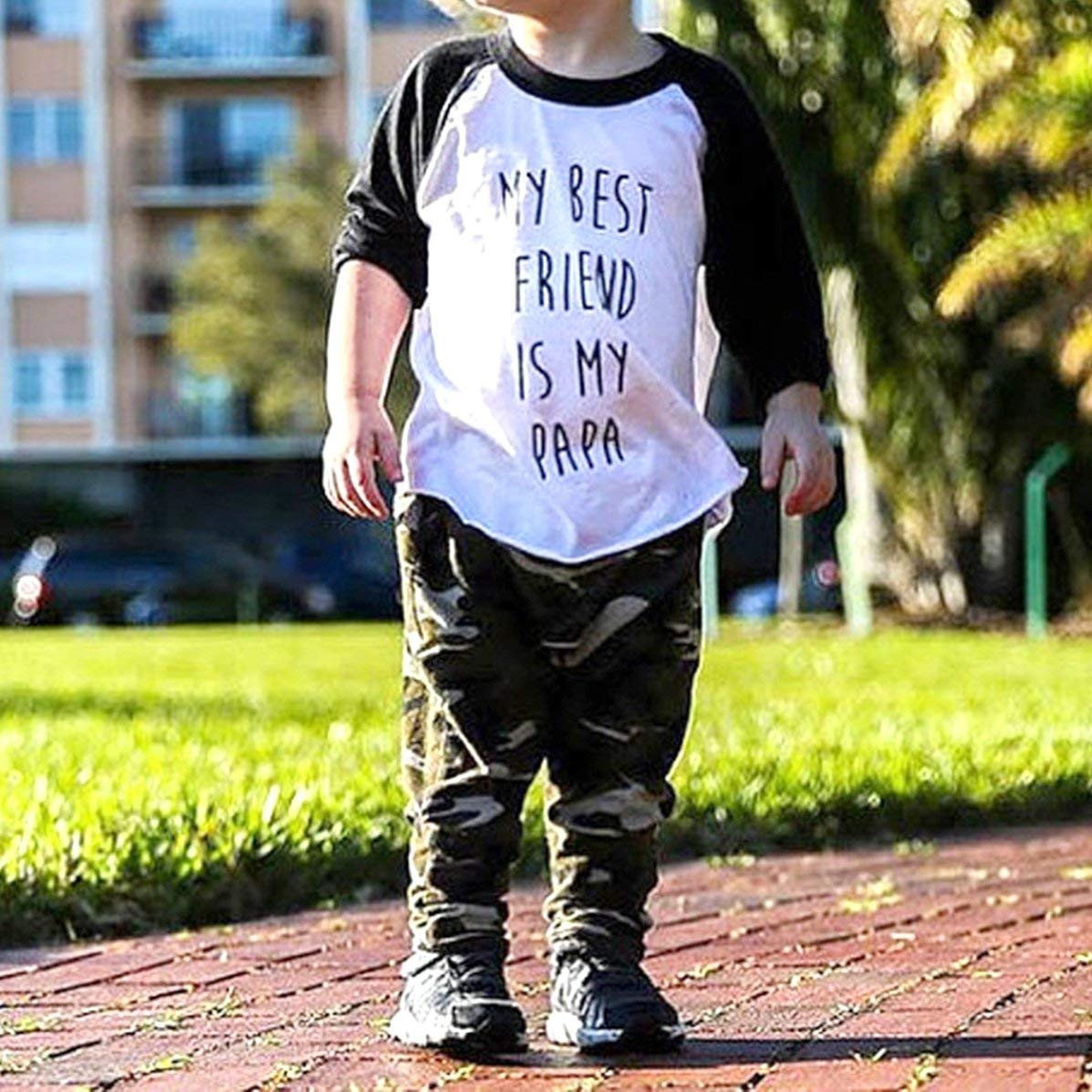 Baby Boys My Best Friend is My Papa Outfit Toddler Tshirt Long Sleeve Tee Shirt Cute Infant Clothes Set Kids Shirts