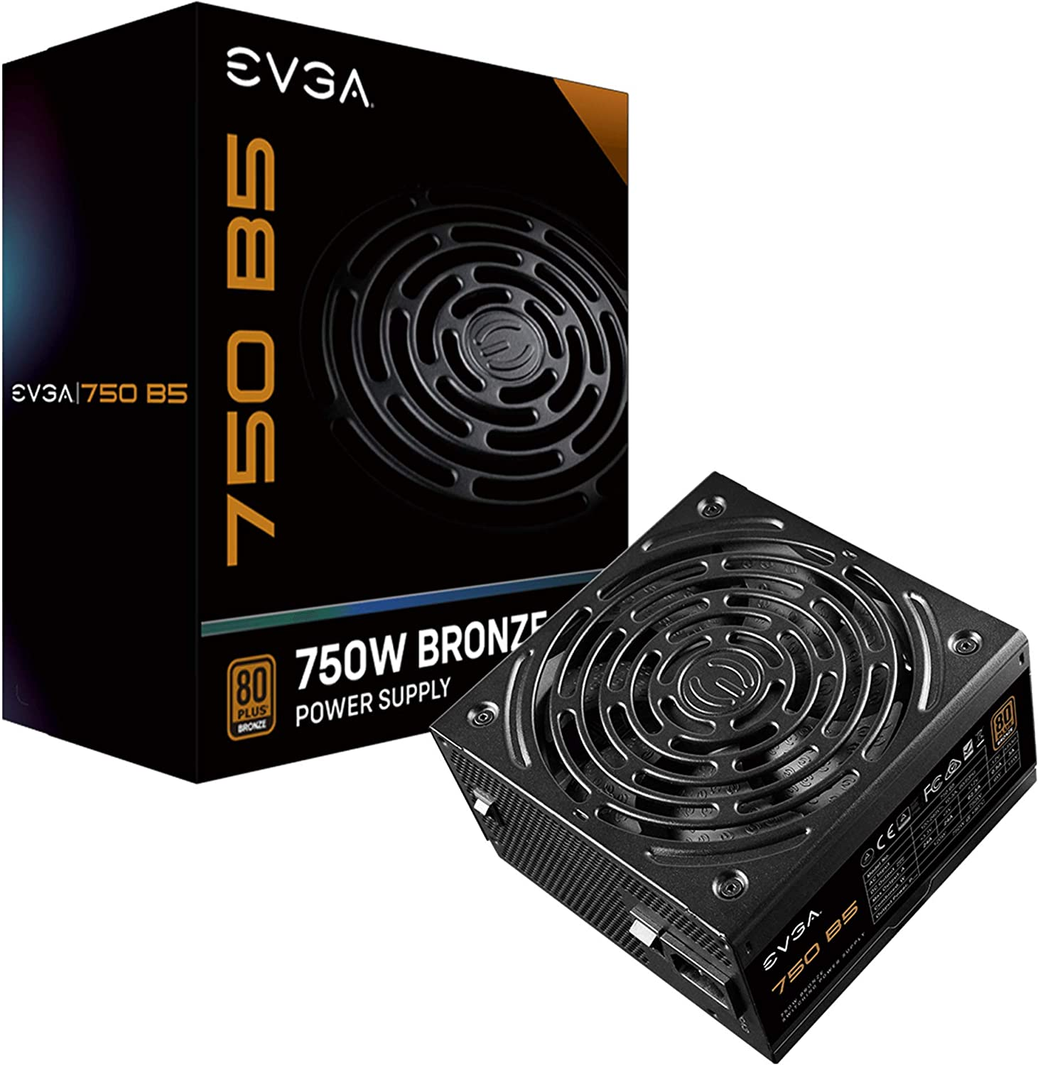 EVGA 750 B5, 80 Plus Bronze 750W, Fully Modular, EVGA ECO Mode, 5 Year Warranty, Compact 150mm Size, Power Supply 220-B5-0750-V1