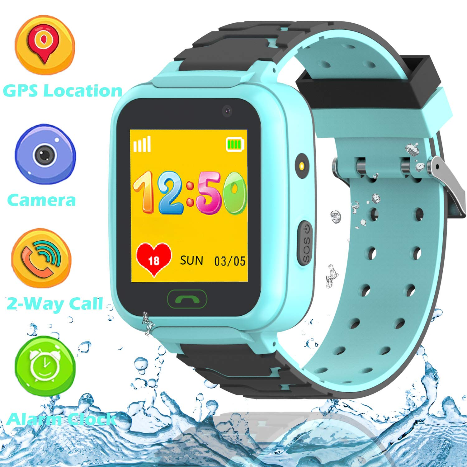 GPS Smart Watch for Kids – Boys Girls Smartwatch Phone with GPS/LBS Locator 2 Way Calls SOS Camera Voice Chat Math Game Step Counter Geo Fence for ...
