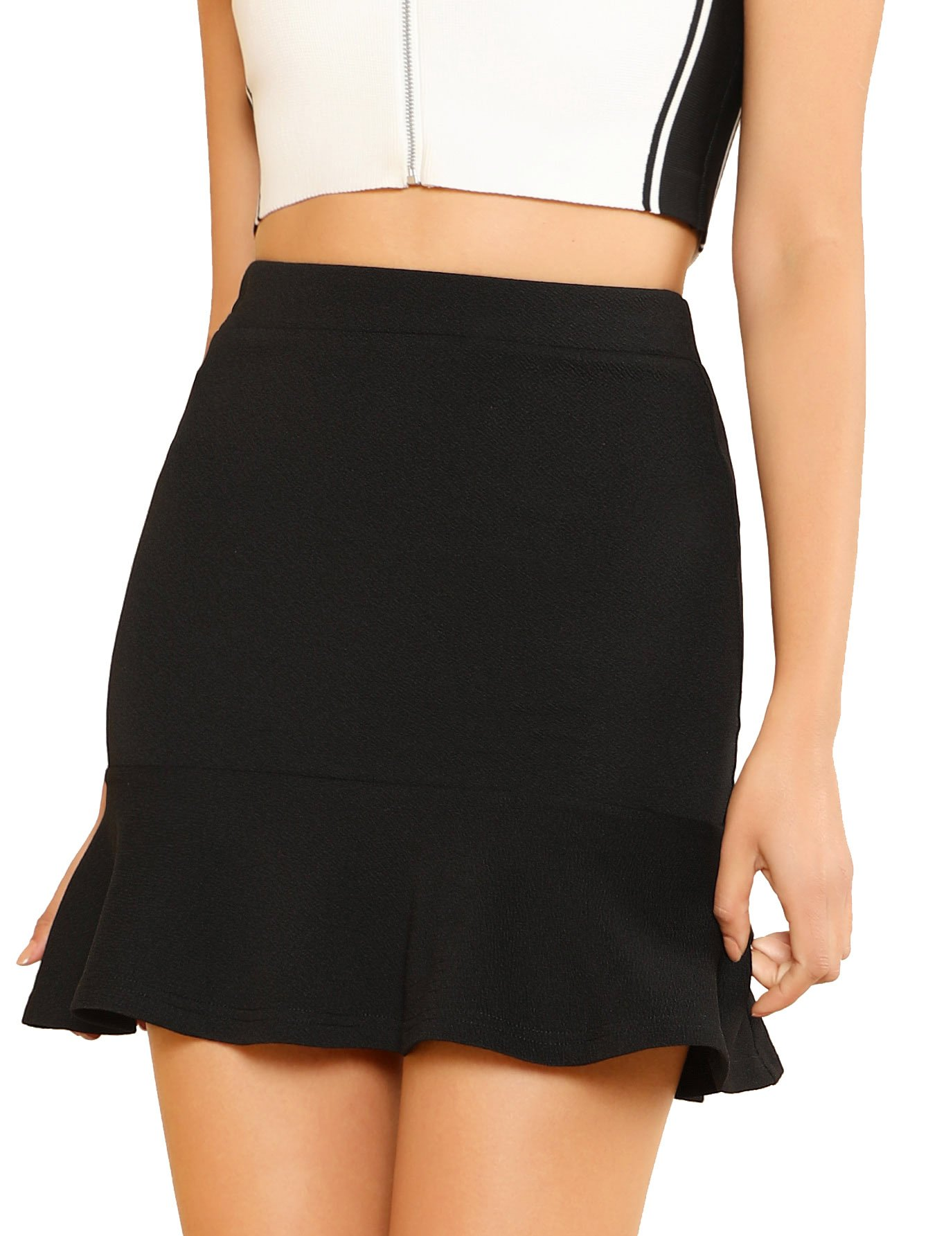 WDIRA Women's Elegant Mid Waist Above Knee Ruffle Hem Casual Skirt Black L