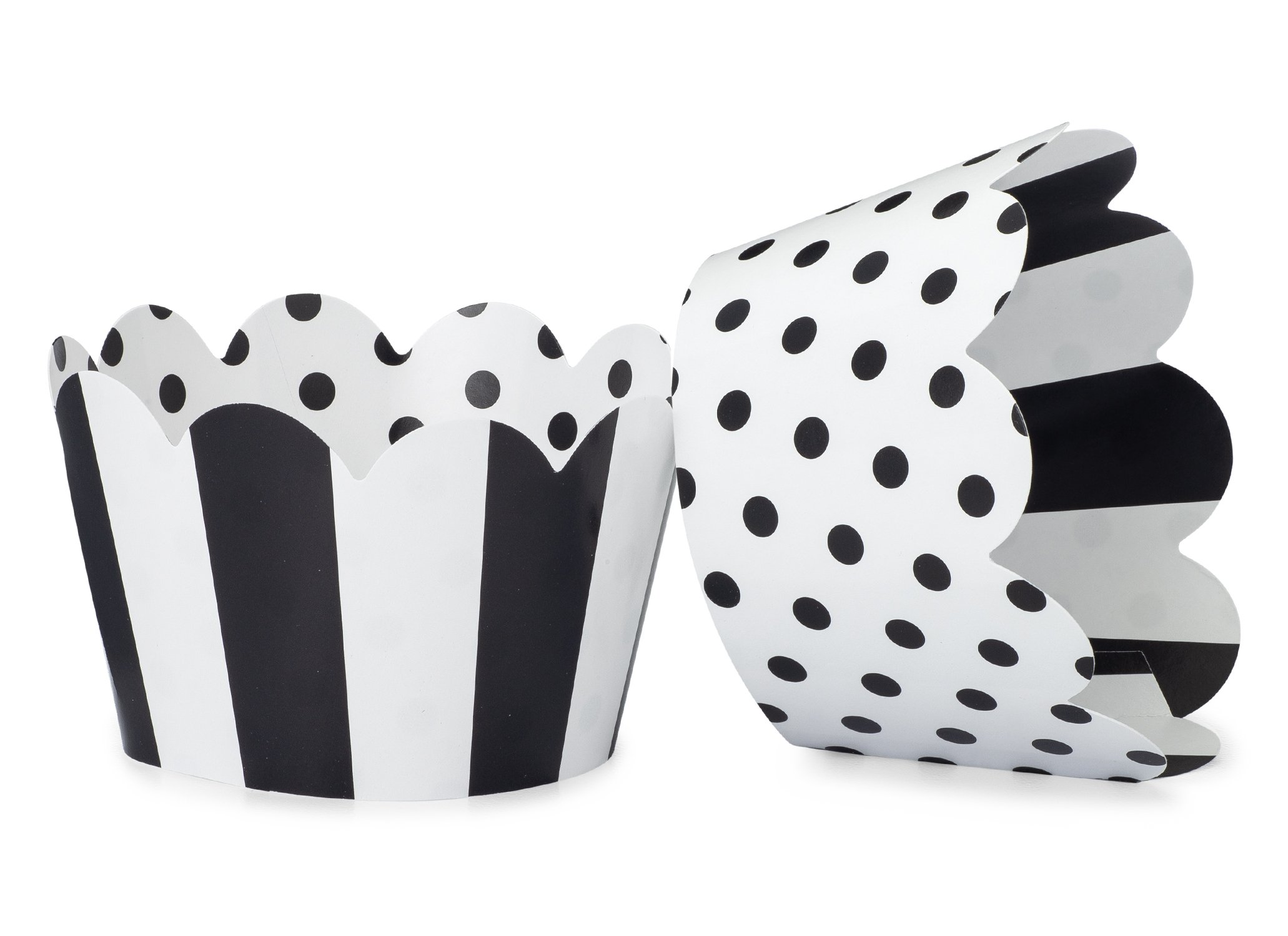Black and White Cupcake Wrappers for Weddings, Graduations, Kids and Adult Birthday Parties, Baby Showers. Set of 24 Reversible Cup Cake Holder Wraps with Polka Dots and Stripes. Black, White by Toula Products (Image #1)