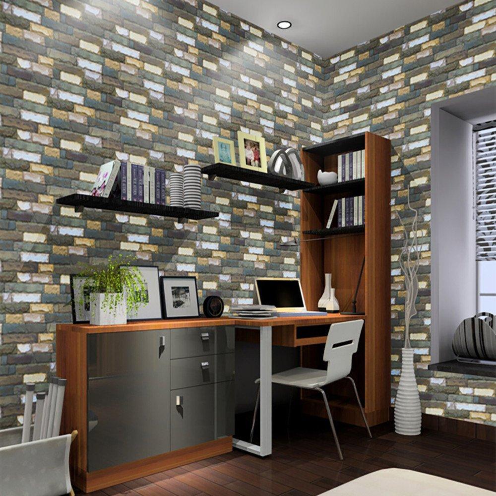JiaMeng 3D Brick Stone rústico Efecto Autoadhesivo Etiqueta de la Pared Home Decoración del hogar Pegatinas: Amazon.es: Hogar