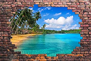 Wall26   Large Wall Mural   Tropical Beach Viewed Through A Broken Brick  Wall | 3D Part 33