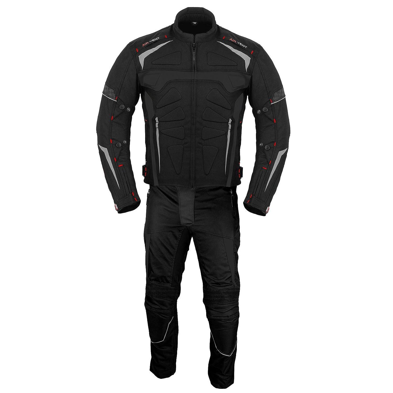 XL Motorradstiefel Motorradanzug mit Handschuh  Motorradschuhe 2 Stuck Anzug wasserdichte Jacke mit Hosen Handschuhe CE Armor All Wetter Herren- Rot