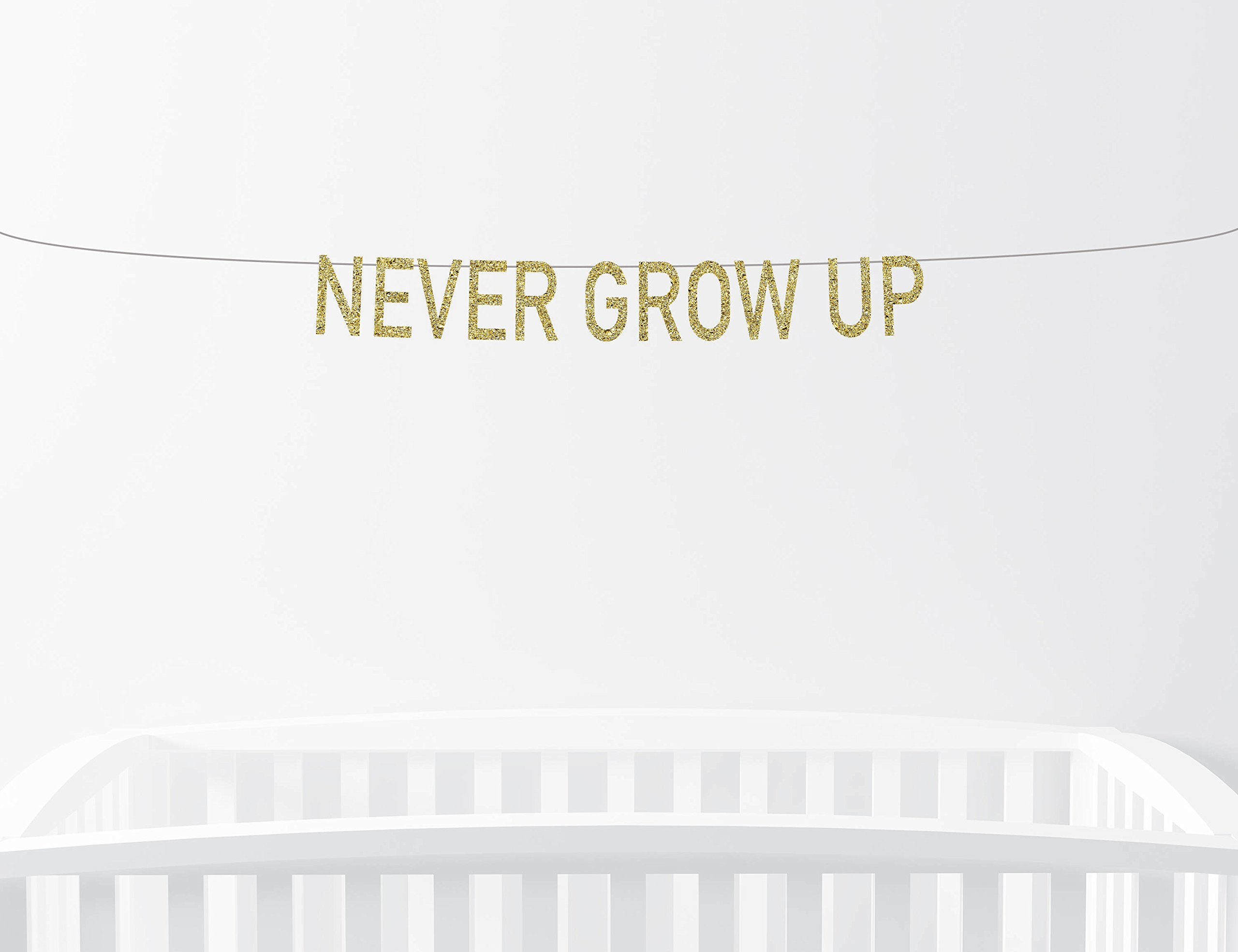 Never Grow Up Nursery Banner Baby Shower Decor Birthday Party Peter Pan Neverland Tinkerbell Gold Sparkly Glitter Banner Wall Art