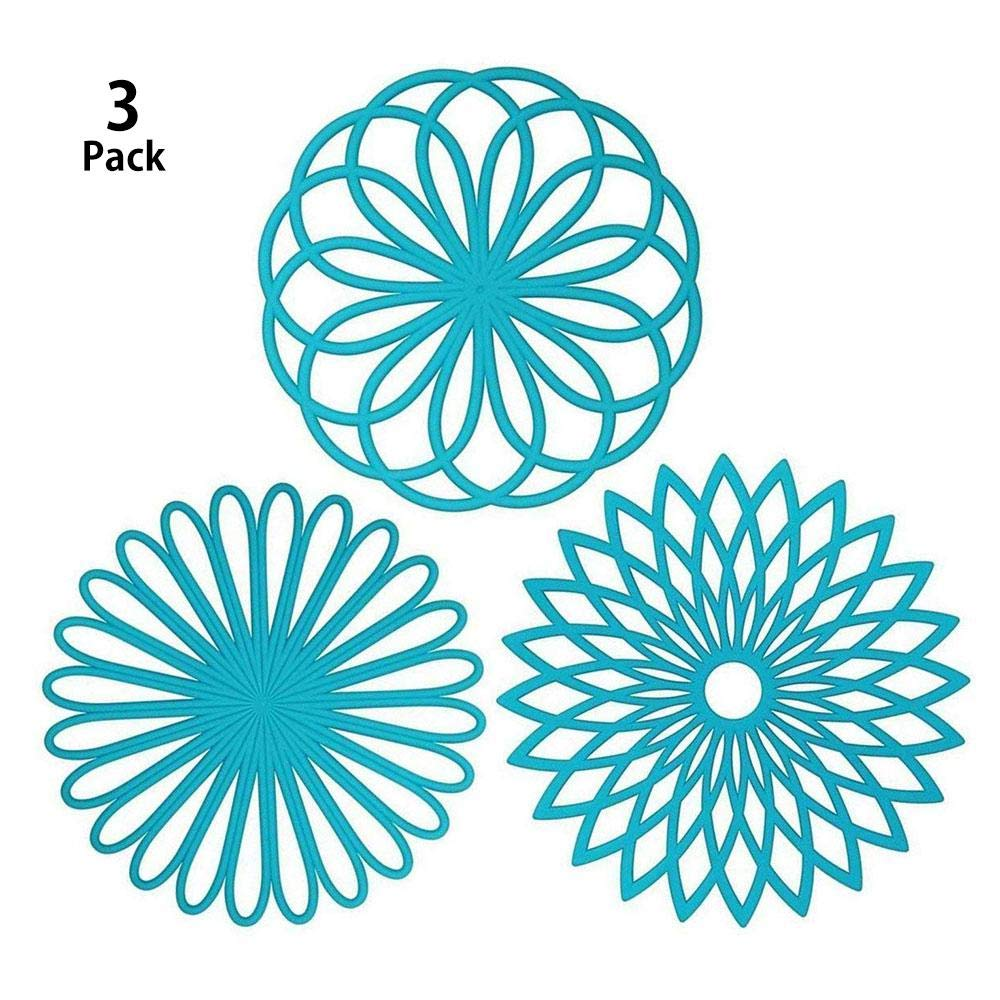 Silicone Multi-Use Flower Trivet Mat, FOONEE 3 Pack Premium Quality Insulated Flexible Durable Non Slip Hot Pads and Coasters Cup
