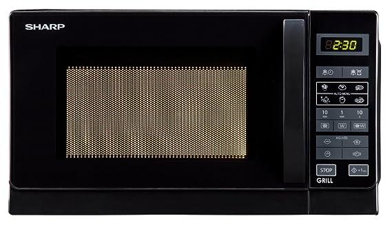 Sharp R642INW Microondas con grill, 20 l, Negro