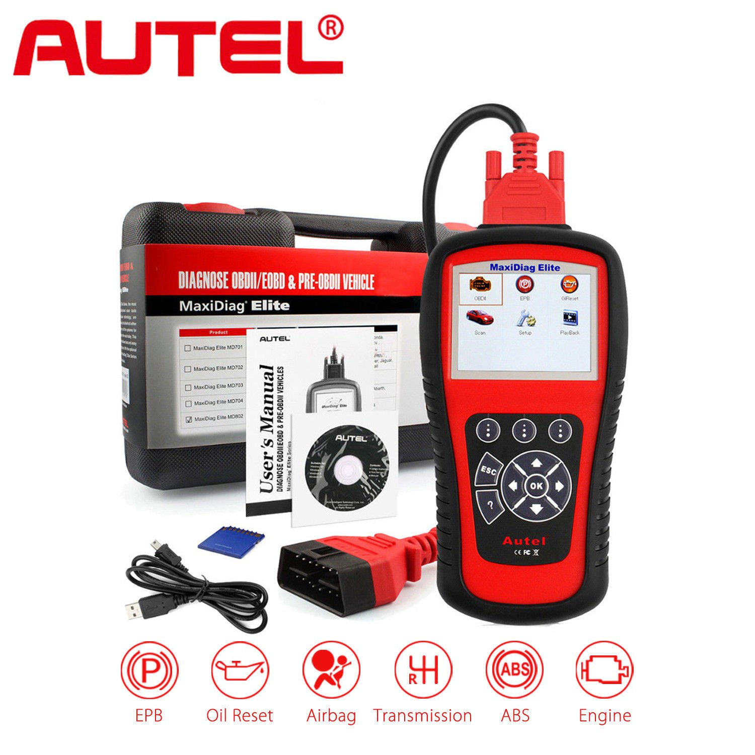 Upgraded Version of ML619 MIL Autel ML629 OBD2 Scanner Code Reader with AutoVIN Function+ABS//SRS//Engine//Transmission Diagnostic Scan Tool Turns Off Engine Light and ABS//SRS Warning Lights