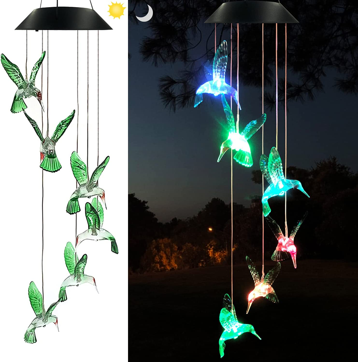 Eleven Direction Hummingbird Solar Chimes mobiles Home Decorations,Gifts for mom Birthday Gifts for Women,Outdoor Garden Decor Gifts