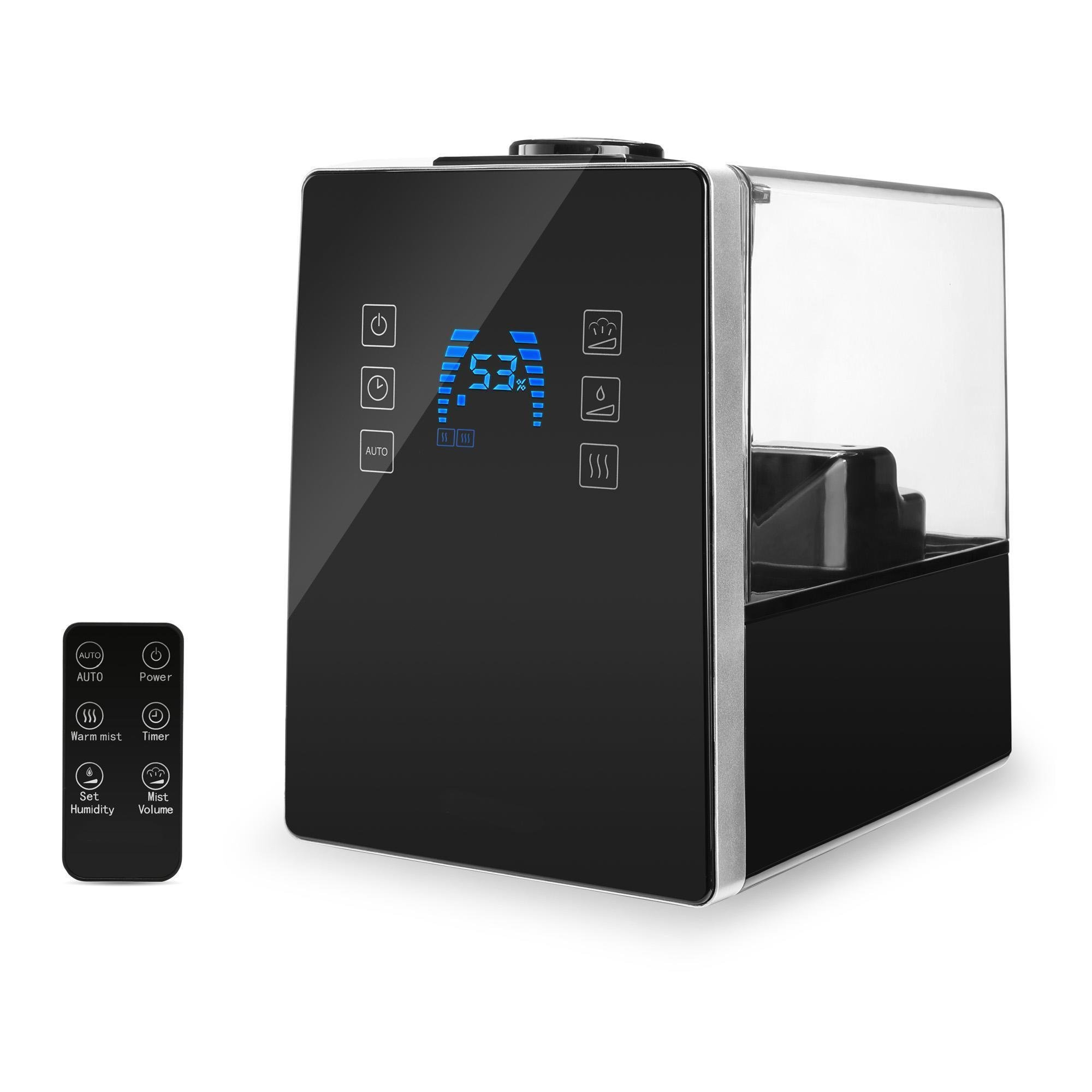 Cool/Warm Ultrasonic Humidifier 6L/1.6 Gallon Capacity, Remote Control, Waterless Auto Shut-off, LED Display