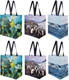 Reusable Grocery Bags Shopping Totes with Colorful National Geographic Prints Heavy Duty Water Resistant Laminated…