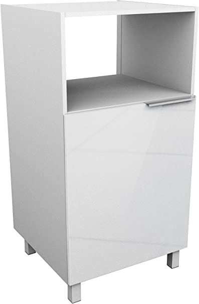 Berlioz Creations Cd6mb Meuble Demi Colonne Pour Micro Onde Blanc