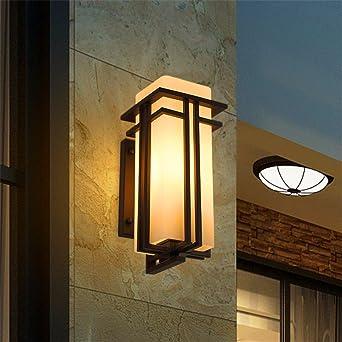 BOOTU lámpara LED y luces de pared Luces de pared exterior impermeable lámpara exterior patio japonés pasillo terraza al aire libre, grandes w/5W Bombilla LED blanco cálido): Amazon.es: Iluminación