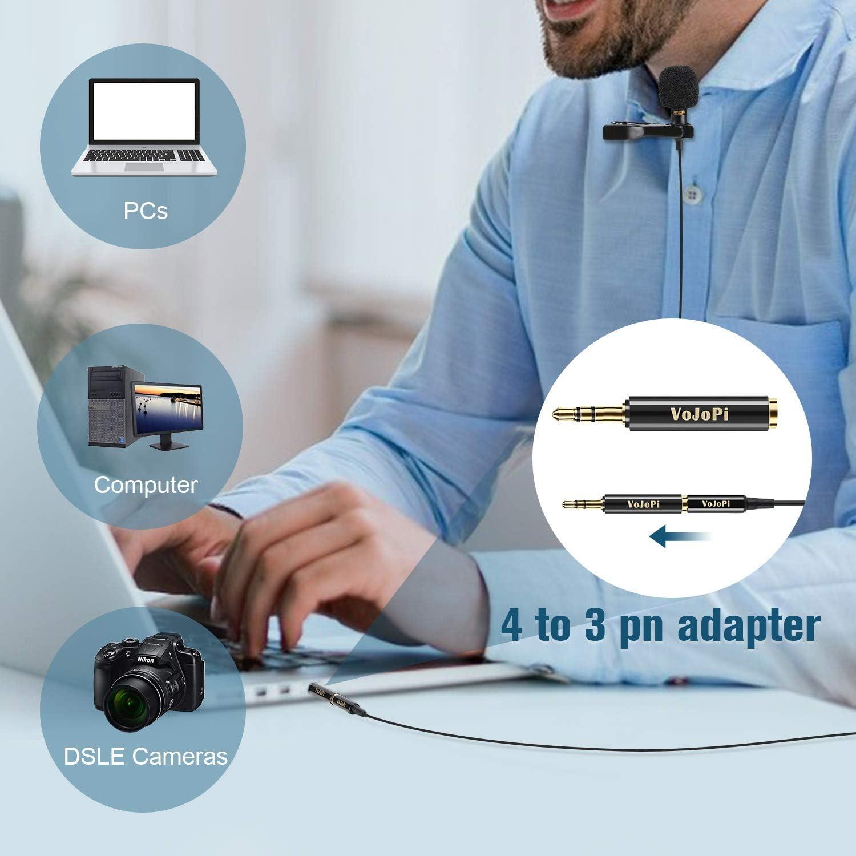Videocamera Cellulare Registratori Audio Mini Microfono con Clip VoJoPi Microfono Lavalier Conferenza Video Microfono Condensatore Omnidirezionale Professionale per PC