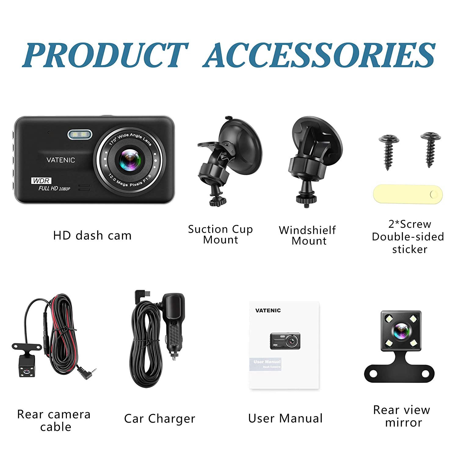 Driving loop Recording With 4.0  IPS Screen 170/°Wide Angle WDR G-Sensor Motion Detection VATENIC Dual Dash Cam Car Dashboard Camera Recorder Full HD 1080P Front And Rear Cameras Parking Monitor Night Vision