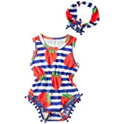 Blue& White Stripe Bodysuits Girl Sprint Jumpsuit Outfit Novelty Clothes 0-6 Months Newborn Fruit Strawberry Romper + Bow Headband,Strawberry,0-3Months (Size 70)