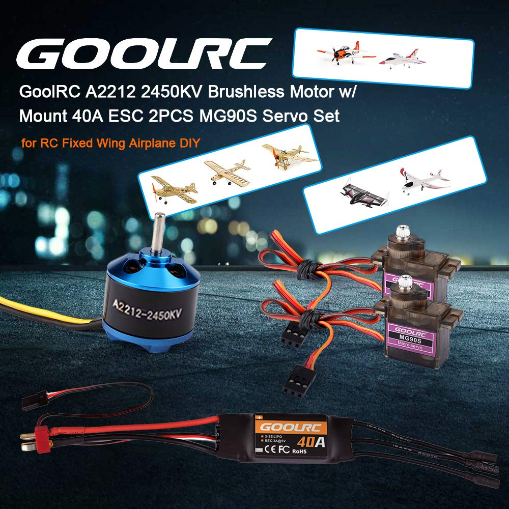 GoolRC A2212 2450KV Motor sin escobillas con Montaje 40A ESC 2PCS MG90S Servo Set para RC ala Fija Avi/ón Multirotor Aviones DIY