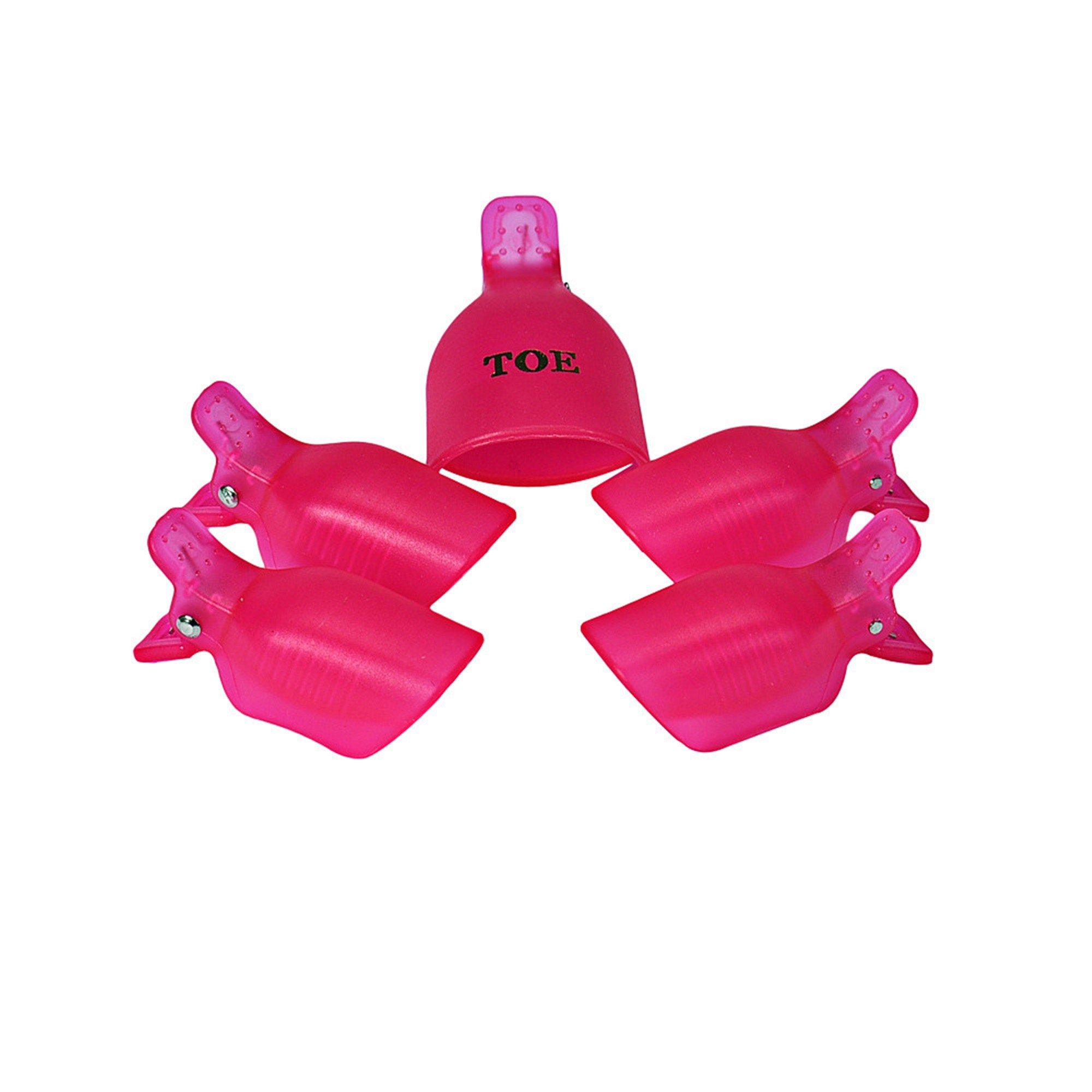 Sannysis 5PC Toenail Nail Art Soak Off Cap Clip UV Gel Polish Remover Wrap Tool Plastic (Hot pink)