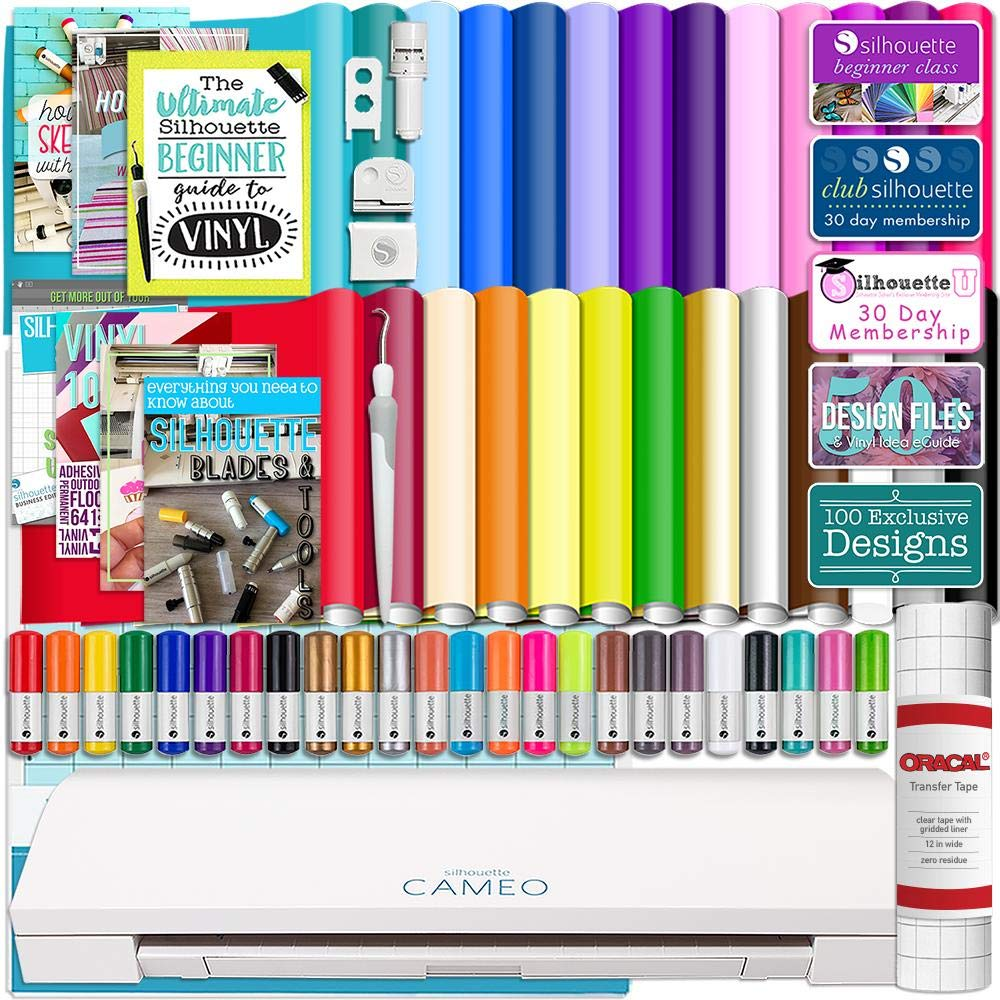 Silhouette Cameo 3 White Bluetooth Starter Bundle with 26-12'' x 12'' Oracal Vinyl Sheets, Transfer Paper, Guide, Class, 24 Sketch Pens by Silhouette America (Image #8)