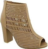 MVE Shoes Women's Open Toe Stacked Block Heel Ankle Bootie