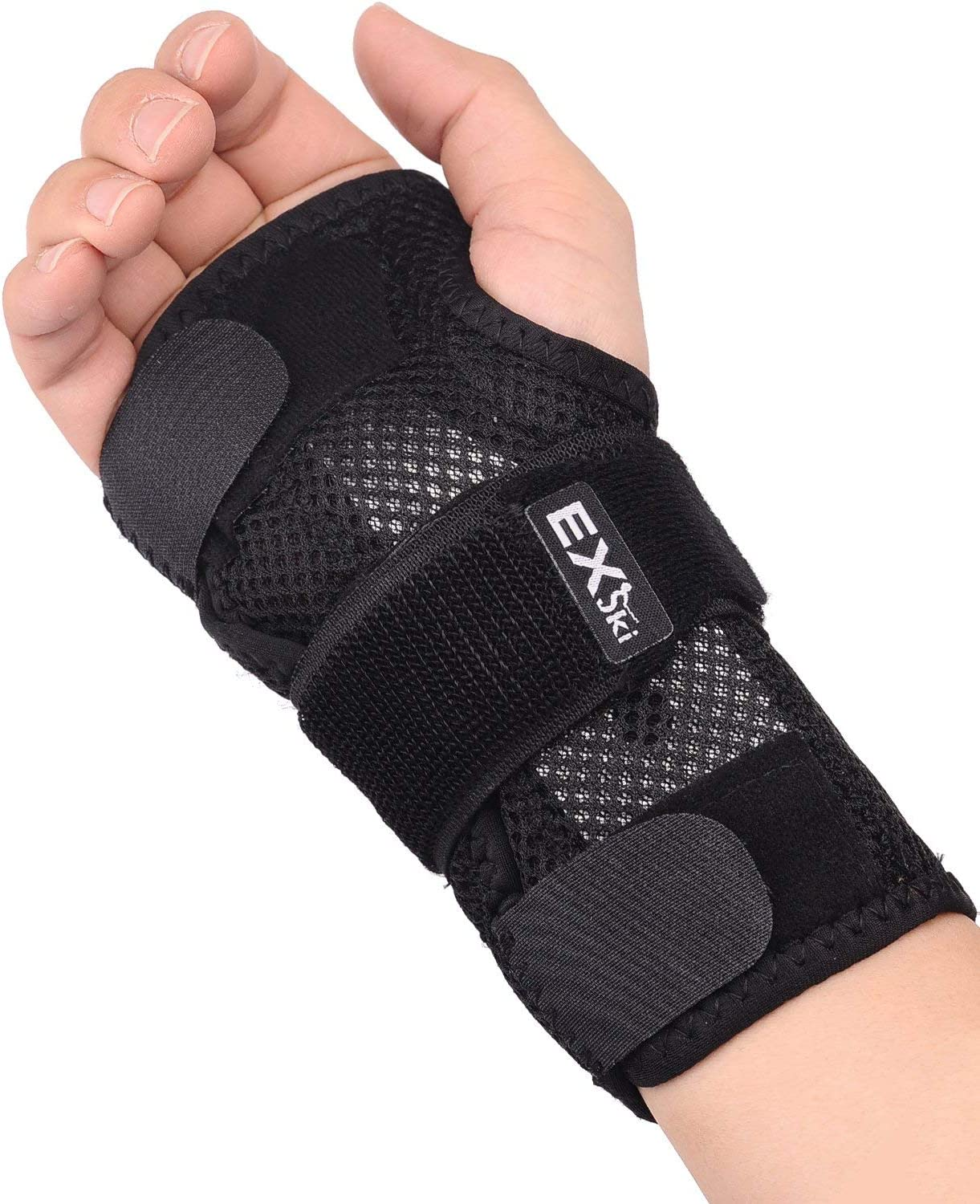 EXski Wrist Brace for Carpal Tunnel, Night Sleep Wrist Support Brace with Removable Metal Splints Right Hand Large