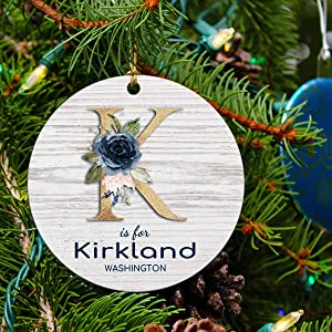 Christmas Ornament Tree 2020 State Rustic Kirkland Washington Christmas Decoration Party and Holiday Decor Ornaments Gift for Family Friends Long Distance Love Decoration for Xmas