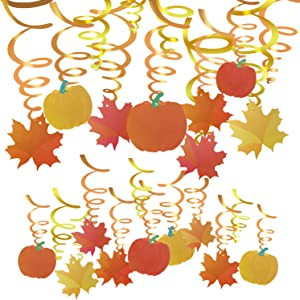 Konsait 36 Count Thanksgiving Swirl Hanging Decorations, Autumn Pumpkin Maple Leaf Hanging Swirls Decorations, Fall Themed Door Ceiling Decorations Favors Supplies for Thanksgiving Party Decor