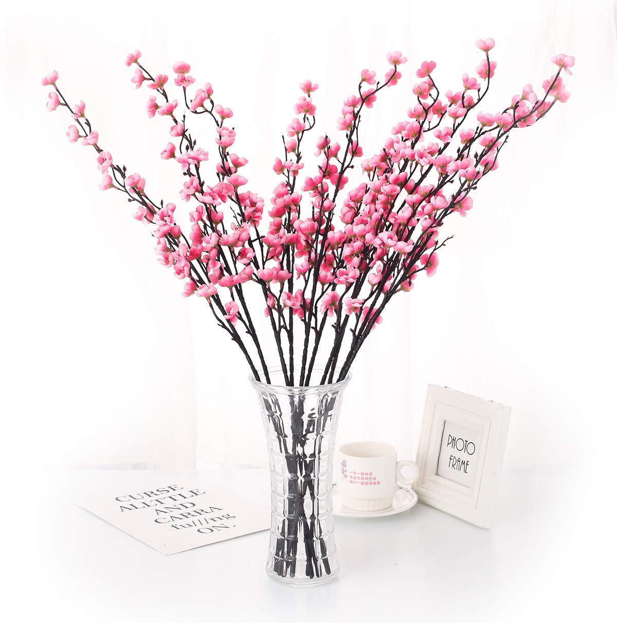 Charmly 5 Pcs Artificial Plum Blossom Fake Wintersweet Long Stem Plastic Flowers Home Hotel Office Wedding Party Garden Decor 27.5'' High Pink