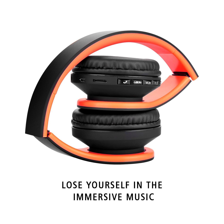 JIUHUFH Auriculares Inalámbricos por Encima del oído Auriculares Bluetooth con Micrófono Incorporado para PC/Teléfonos Celulares - Negro Naranja: Amazon.es: ...