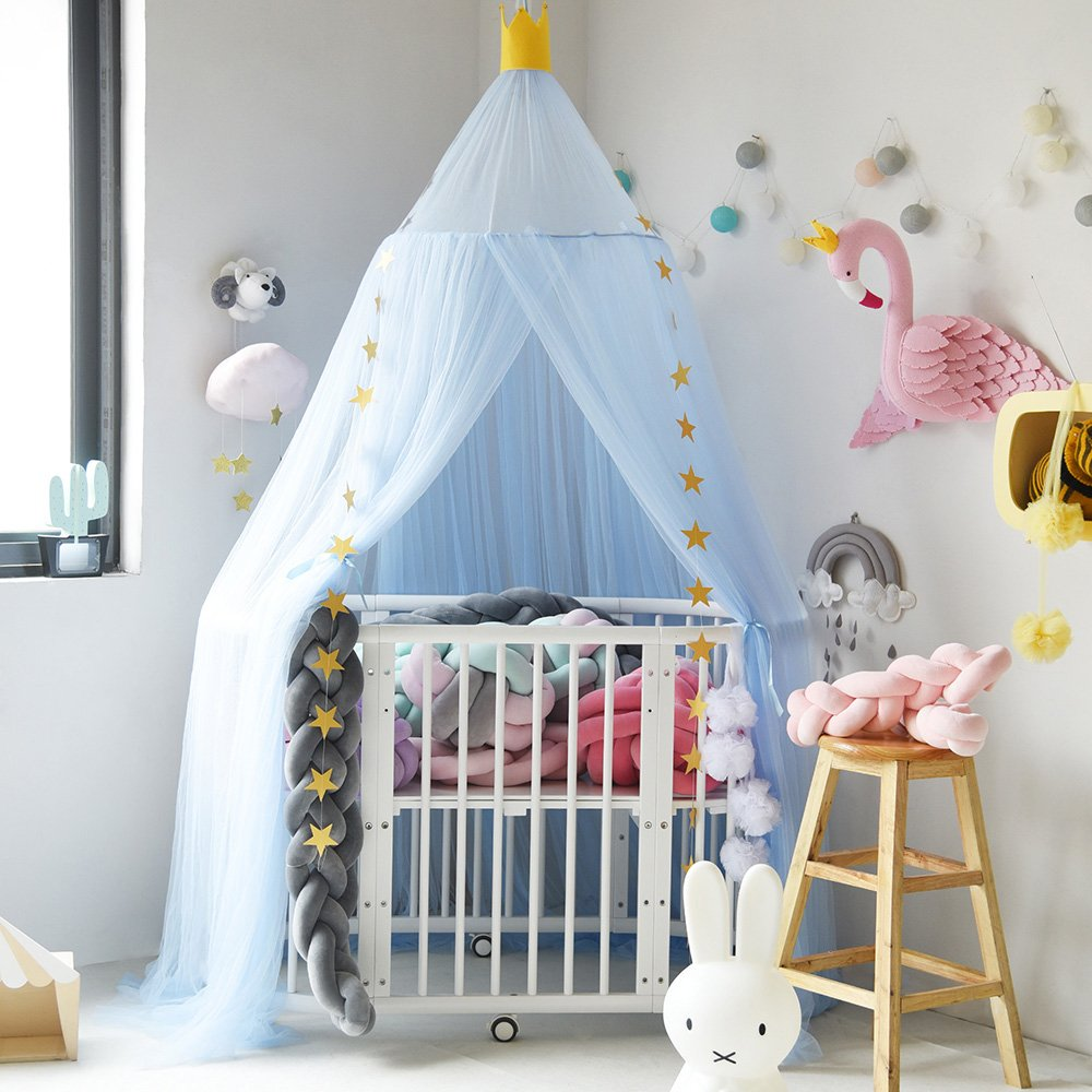 Didihou Mosquito Net Bed Canopy Yarn Play Tent Bedding for Kids Playing Reading with Children Round Lace Dome Netting Curtains Baby Boys and Girls Games House (White)