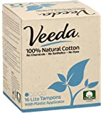 Veeda Natural All-Cotton Tampons, Lite/Light, Compact Applicator, 16 Count