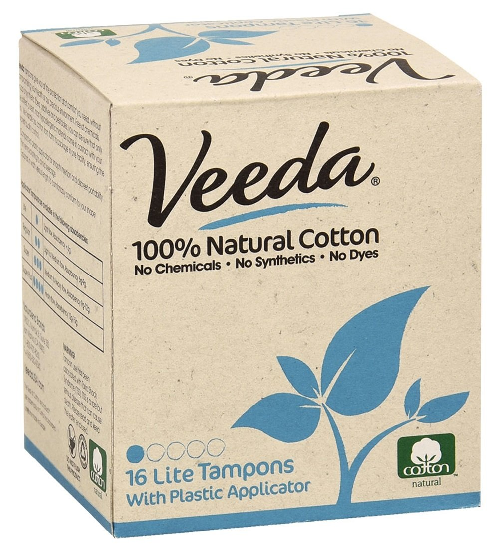 Veeda Natural All-Cotton Tampons, Lite/Light, Compact Applicator, 16 Count Naturalena Brands VATL16US